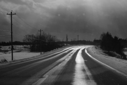 road, sunlight, black and white, Route 14, countryside, landscape, New Year's Day