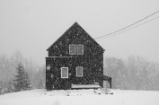 winter, snow, snow storm, January, snowflakes, house, Nova scotia, Canada, photo, social landscape, black and white