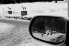 sideview mirror, car, reflection, horse statues, winter snow, social landscape, Lee Friedlander Inspired, social landscape, horses, Hants County, Nova Scotia, Canada, black and white, photo