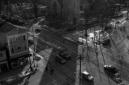 Halifax, Nova Scotia, city, aerial view, Robie Street, Spring Garden Road, Coburg Road, photo, black and white, window view e
