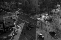 Halifax, Nova Scotia, city, aerial view, Robie Street, Spring Garden Road, Coburg Road, photo, black and white, window view e