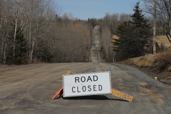 South Rawdon, Hants County, Nova Scotia,  Canada, road closed, sign, spring, mud, social landscape,