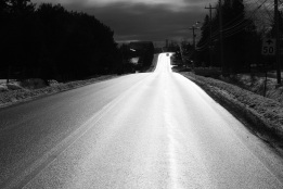 car, highway, silhouette, sunlight, dramatic light, winter, photo, black and white, Elmsdale, Nova Scotia, Canada