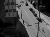 aerial view, Hollis Street, Halifax, window view, social landscape, black and white, pedestrians, shadows
