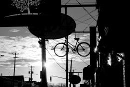 bicycle, silhouette, sun, sunlight, sky, city, surrealism, social landscape, Halifax, Nova Scotia, Canada
