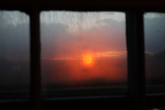 sunset, colour, window view,