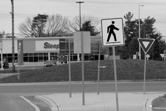 black and white, photo, social landscape, signs, sleep, crosswalk figure,