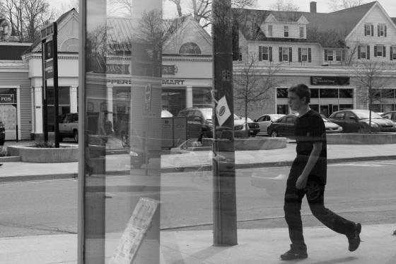 black and white, photo, pedestrian, reflection, walking, social landscape, Lee Friedlander Inspired, street, Nova Scotia,