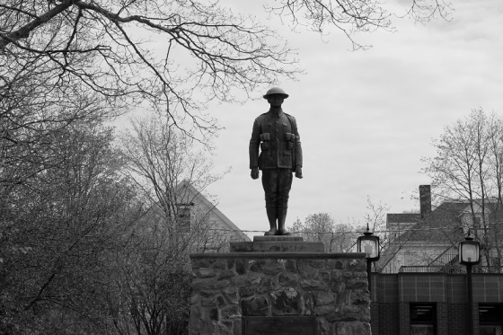 black and white, war memorial monument, WWI, WWII, soldier, monument, social landscape, Wolfville, Nova Scotia,