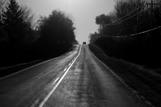 black and white, photo, Centre Rawdon, Hants County, Route 14, light,