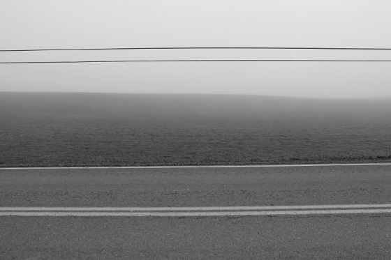 black and white, fog, landscape, Route14, Hants County,