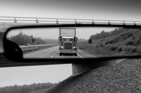 black and white, semi truck, rear view mirror,
