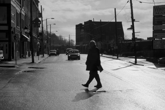 black and white, social landscape, Windsor, Nova Scotia, Water Street, photo, pedestrian,