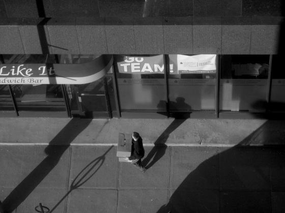 black and white, social landscape, aerial view, street, Halifax, Nova Scotia, people, light, shadows city, sidewalk,