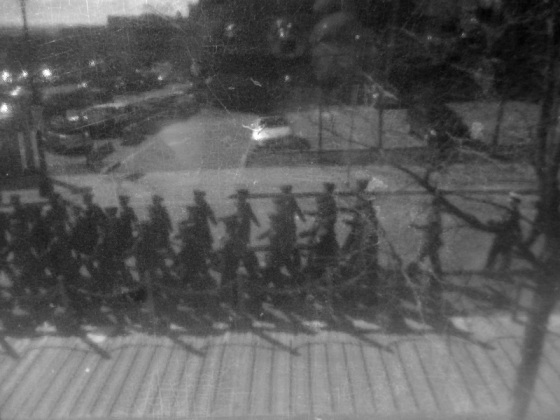 black and white, social landscape, soldiers, marching, history, Battle of the Atlantic, photo,