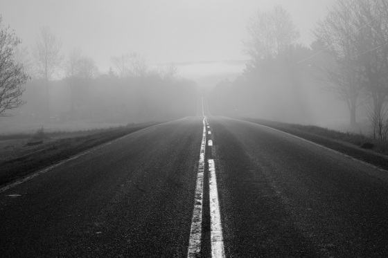 black and white, fog, social landscape, Route 14, road, Woodville, Hants County,