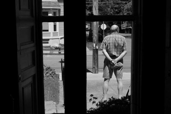 black and white, social landscape, street, pedestrian, people, window view, Halifax, Nova Scotia,