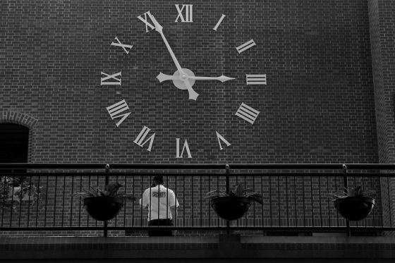 black and white, Saint John, New Brunswick, Market Square, clock,