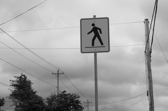 black and white, photo, pedestrian crossing sign, crosswalk, photo, tightrope,