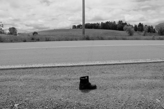 black and white, boot, abandoned,  summer, landscape, social landscape, photo,