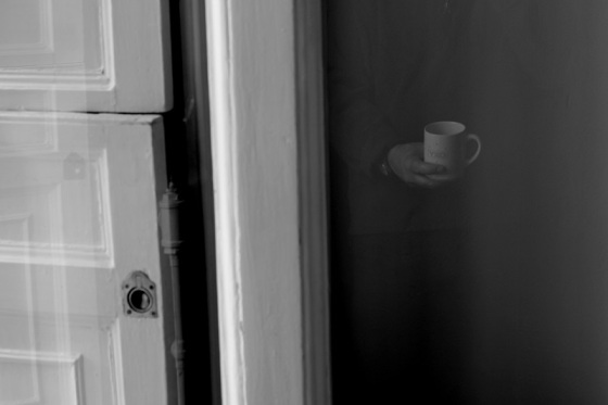 black and white, photo, reflection, coffee cup, mug,