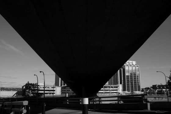 black and white, cityscape, Cogswell Interchange, ramp, social landscape, photo,