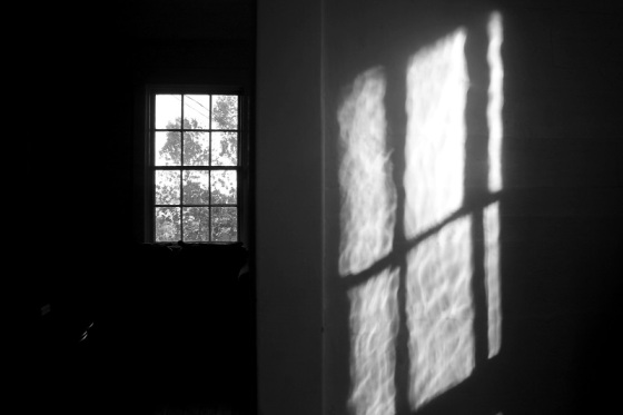 black and white, photo, window view, surreal, dreamscape, light, shadows,