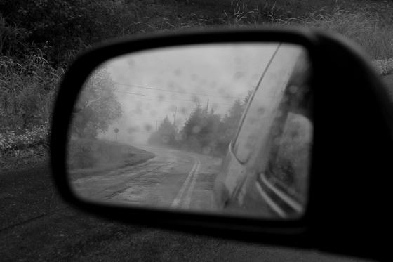 black and white, side mirror, reflection,  fog, rain, social landscape, Avonport, Nova Scotia,