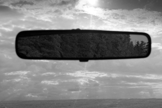 black and white, photo, rearview mirror, dreamscape,