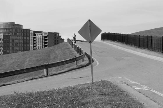 black and white, photo, social landscape, pedestrian, sign,
