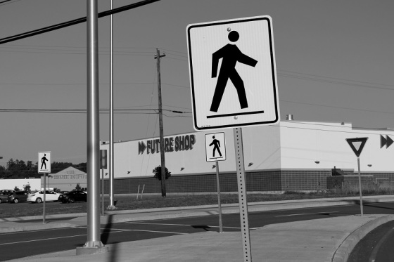 black and white, photo, New minas, Nova Scotia, social landscape, crosswalk signs,