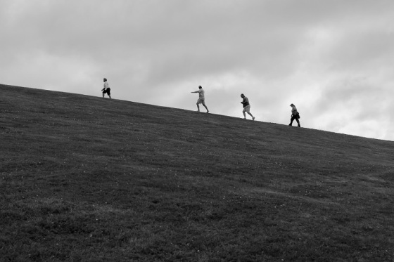 black and white, photo, Citadel Hill, people,