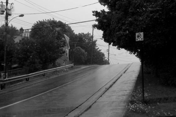 black and white, photo, rain, Dartmouth, street scene,
