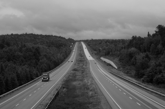 black and white, photo, Highway 101, Ellershouse, Hants County,
