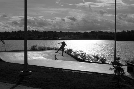black and white, photo, skatepark, skater,  Lake Pisiquid, Windsor, Nova Scotia,