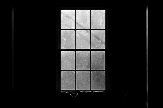 black and white, photo, window view,