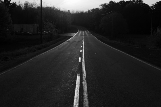 black and white, photo, Route 14, morning, light,