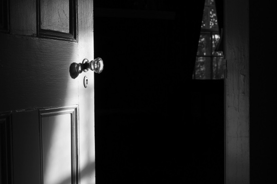 black and white, photo, light. door, door knob,