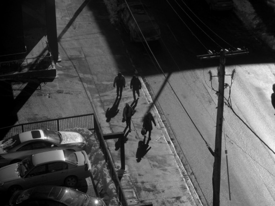 black and white, photo, social landscape, Hollis Street, Halifax, Nova Scotia, shadows,