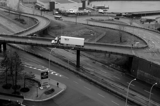black and white, photo, Cogswell Interchange, Halifax,