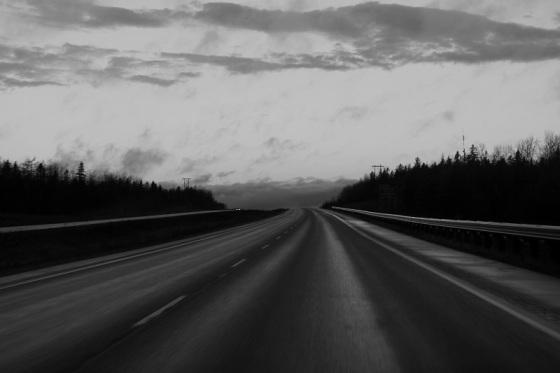 black and white, photo, social landscape, Highway 101, Nova Scotia,