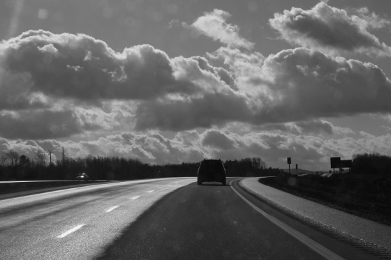 black and white, photo, highway 101, Nova Scotia,