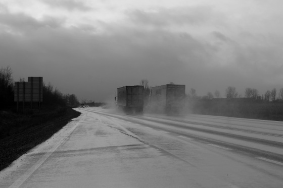 black and white, photo, social landscape, semi trucks,