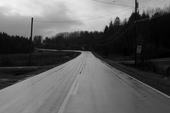 black and white, photo, Route 14, Sweets Corner, Nova Scotia,