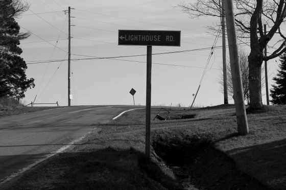 photo, black and white, social landscape, sign, Nova Scotia,