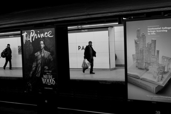 photo, black and white, Pape Station, Toronto,