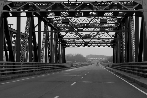 black and white, photo, bridge, Avonport, Nova Scotia,