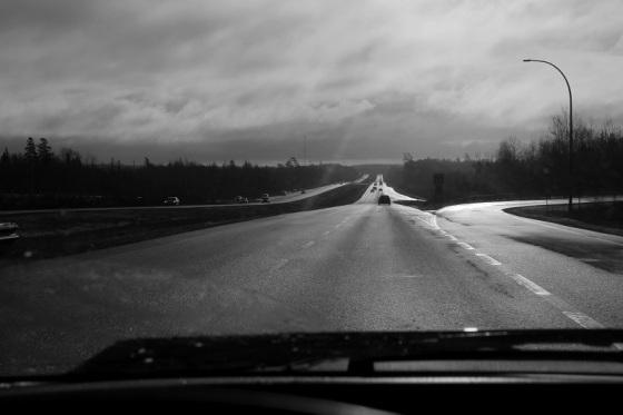 photo, black and white, Highway 101, Nova Scotia,