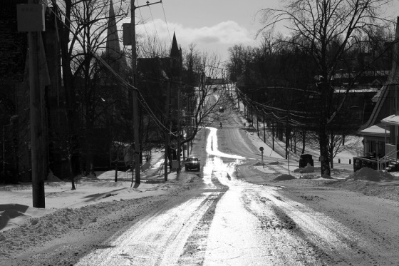 black and white, photo, snow, winter, King Street, Windsor, Nova Scotia,