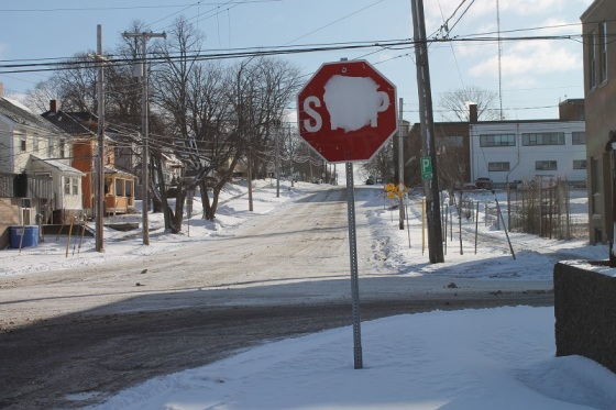colour, photo, stop sign, winter,